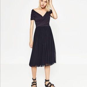 Zara ballerina dress size XS navy blue NEW